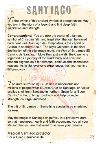 Information about Santiago and life's Camino can be sent with gift