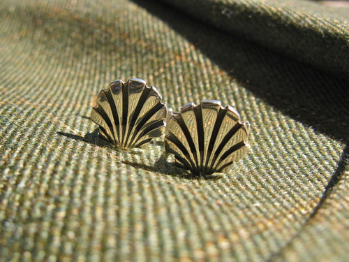 Sterling silver scallop shell cufflinks, a unique present to encourage strength and faith