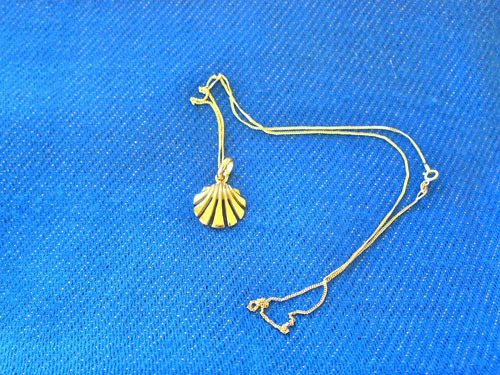 "This exquisite scallop shell hangs on an 18"" fine gold curb chain"