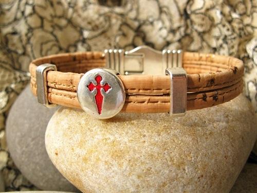 St James cross bracelet of Spain's Camino de Santiago ~ cork MBC01904