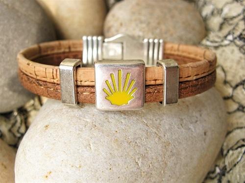 Camino de Santiago Way of St James bracelet - two tone cork MBC01905