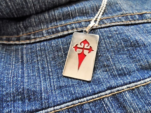 Dog tag ~ red Santiago cruz, sterling silver 20001