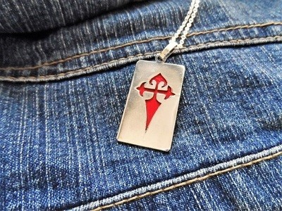 Dog tag ~ red Santiago cruz, sterling silver