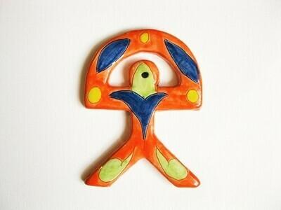 Spanish ceramic Indalo Man talisman ~ ORANGE