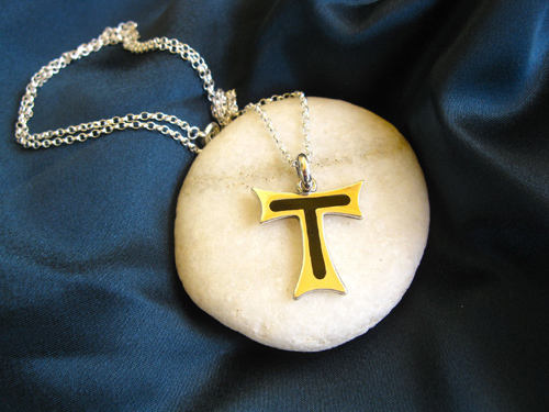 Tau Cross necklace of St Francis ~ silver + jet 00869