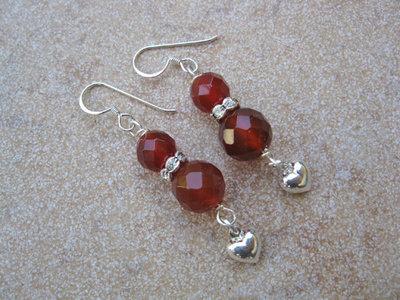 Carnelian + Heart earrings