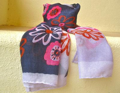 Daisy flower scarf ~ dark blue, pink, tan