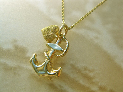 Anchor necklace with heart ~ 9ct gold