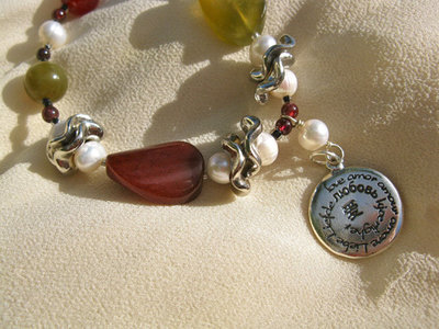 Love charm necklace ~ jade and pearl