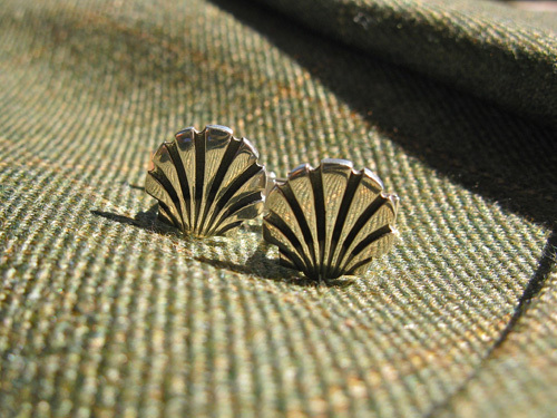 Scallop shell cufflinks ~ classic, sterling silver 00736