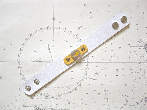 White & yellow colour leather cuff bracelet