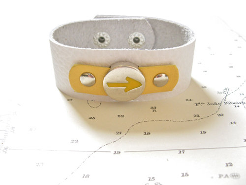 White leather bracelet with yellow leather trim