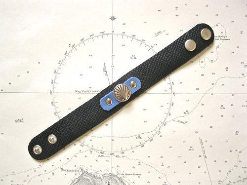 Black & blue colour leather cuff bracelet