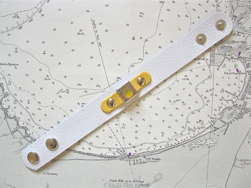White & yellow leather cuff bracelet