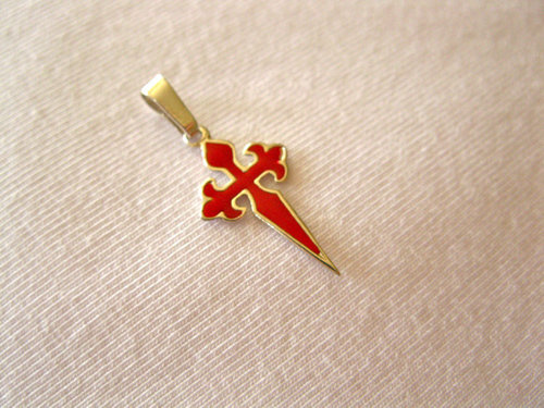Cross of St James necklace ~ silver, red: Encourage safe travels
