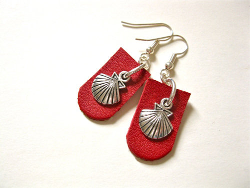 Red leather Camino earrings