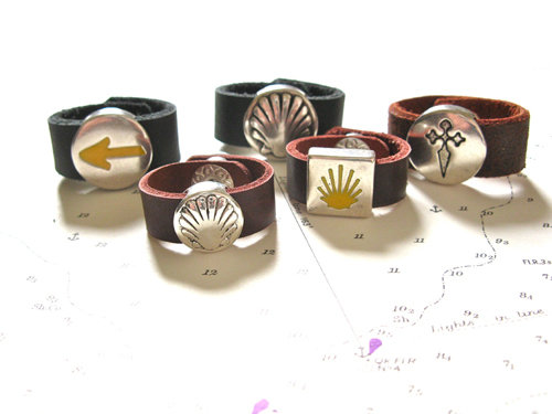 Range of our Camino de Santiago symbols  leather rings