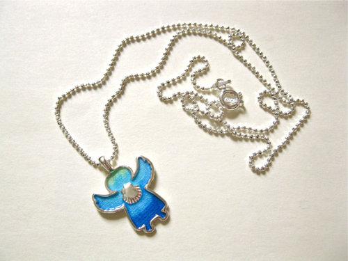 Beautiful blue enamel angelito on a sterling silver diamond cut ball chain