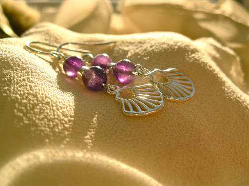Beautiful amethyst beads add a mystical dimension to these earrings