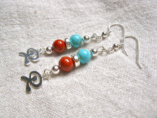 Unique red jasper, turquoise and sterling silver Indalo earrings make an inspirational gift