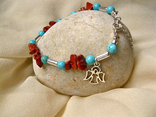 Guardian angel bracelet ~ red jasper + turquoise