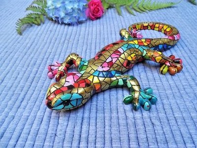 Spanish ceramic Gecko figurine to wish luck LARGE ~ Diego