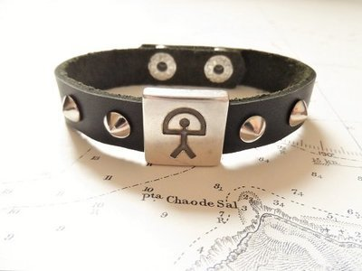 Indalo charm bracelet ~  black leather strap