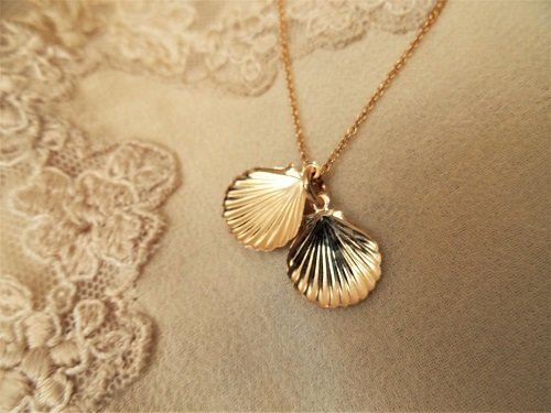 Camino jewellery scallop shell necklace ~ gold filled INC01087