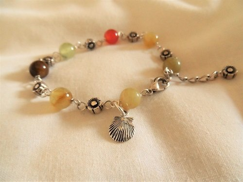 Camino travel bracelet ~ jade + silver 01190