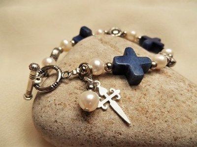 St James cross bracelet ~ sodalite + pearl