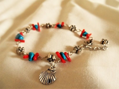Scallop shell travel bracelet ~ coral + turquoise 01191