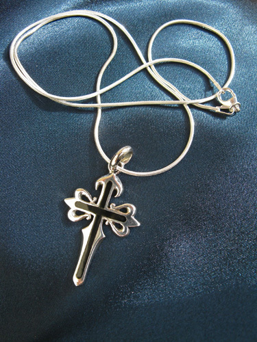 "Cross with 18 or 20"" sterling silver snake chain"