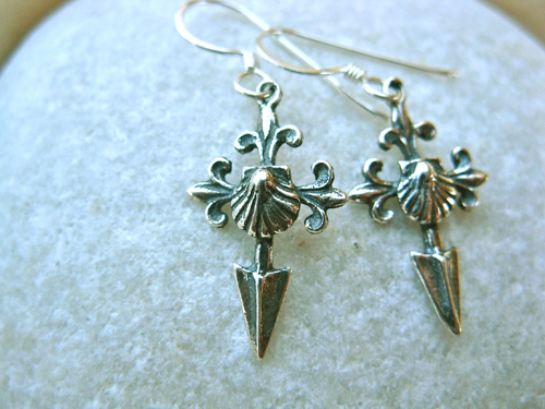 Close-up of sterling silver Santiago earrings