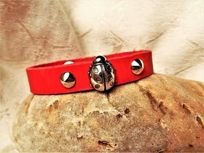 Ladybird lucky charm bracelet ~ leather