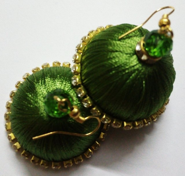 Silk Thread Jhumka Earrings Green