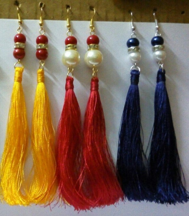 Handmade Silk Thread Earrings Set For Women TCERSET001