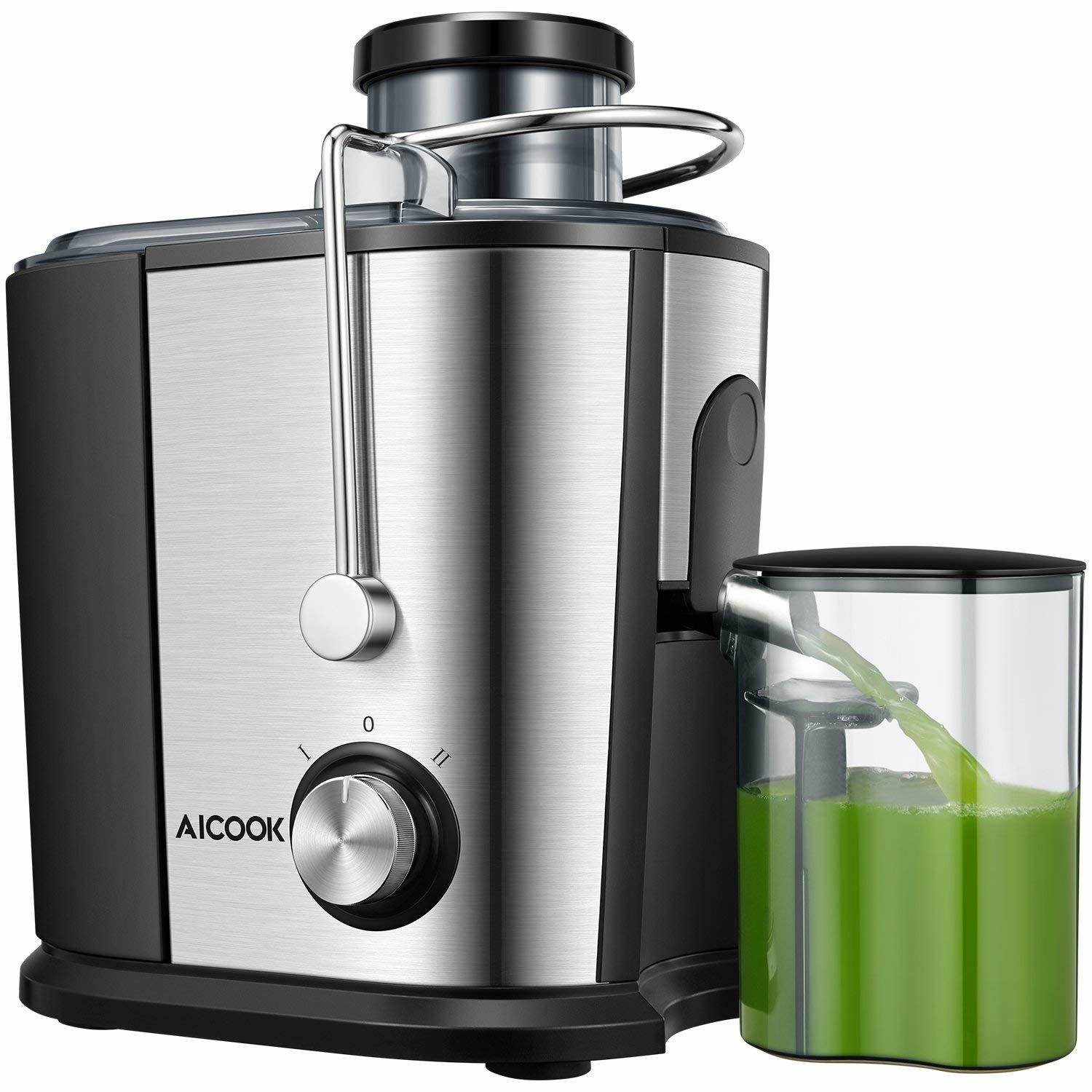 Juicer Compact Juice Extractor, Aicook Wide Mouth Juicer Machine BPA-Free, Dual Speed Setting Centrifugal Juicer with Anti-drip Function, Stainless Steel Juicer 00005