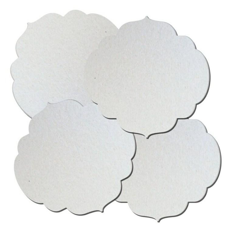 Lot de 4 plaques romantiques en carton à décorer - 14,5 cm