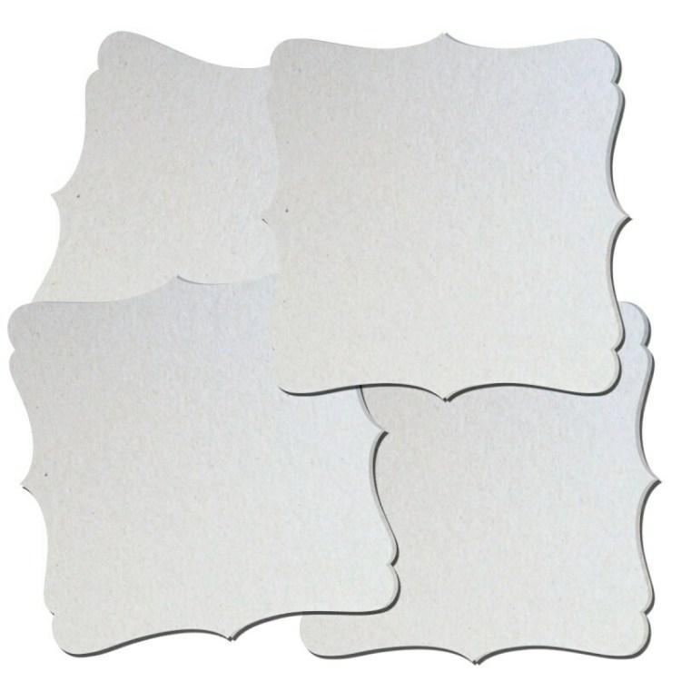 Lot de 4 plaques art déco en carton à décorer - 14,5 cm