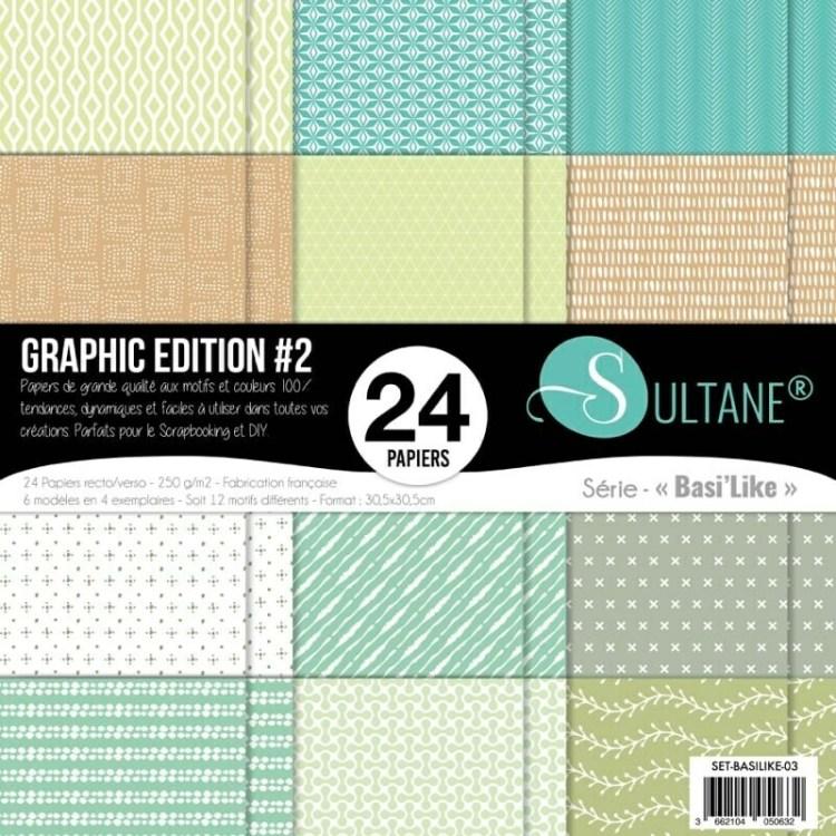 Set de 24 papiers Sultane Basi'Like recto/verso 30,5x30,5 cm - 250 g/m2 - Graphic édition 2