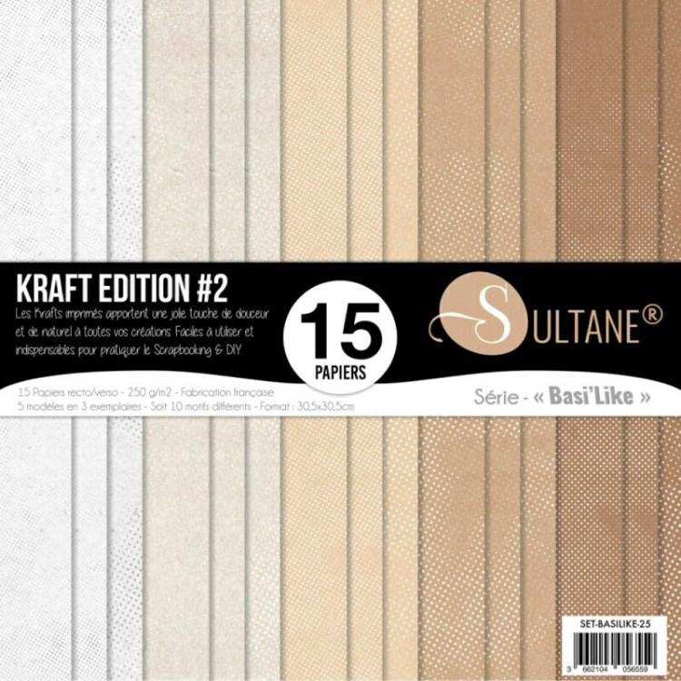 Sets de 15 papiers Basilike Kraft