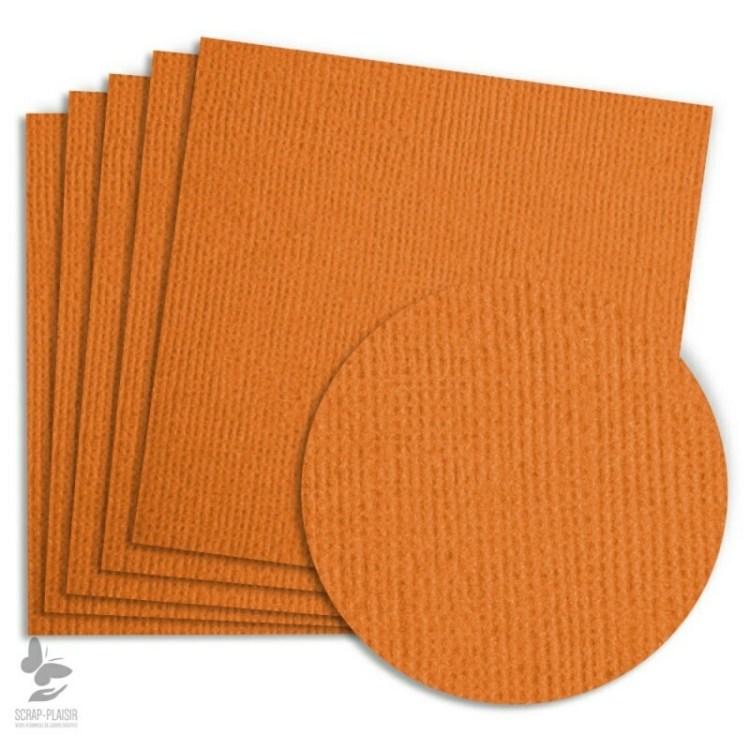 5 feuilles de papier texturé A4 - Citrouille
