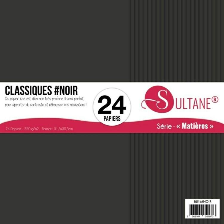 Set de 24 papiers Sultane Noir  - 250 g/2 - 31,5x30,5 cm