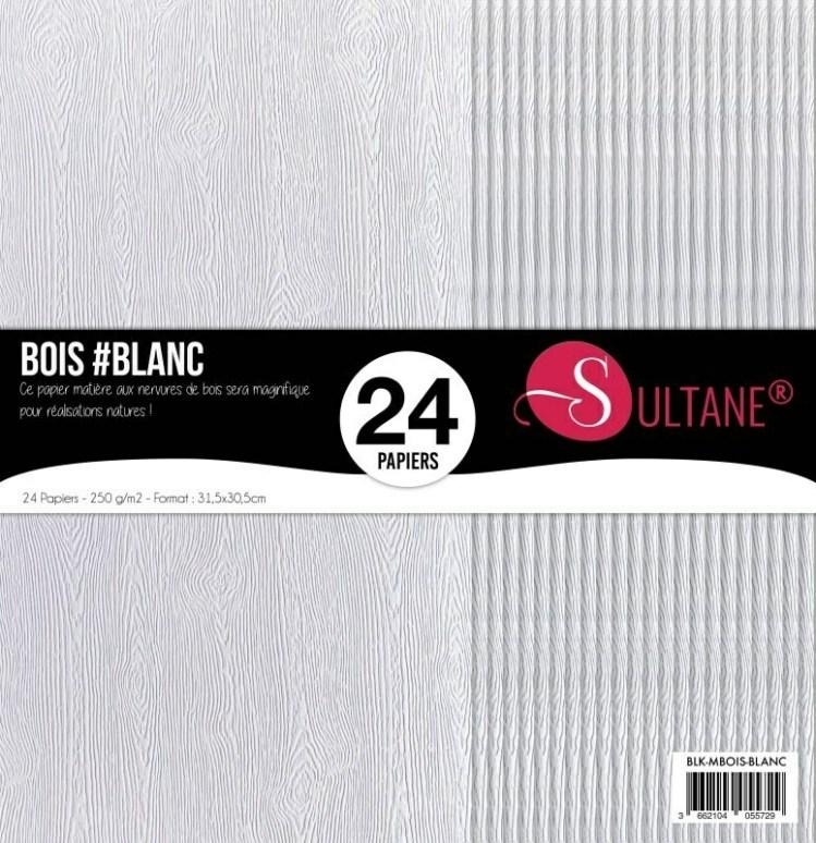 Set 24 papiers scrapbooking - Texture bois - Blanc - 300g/m2