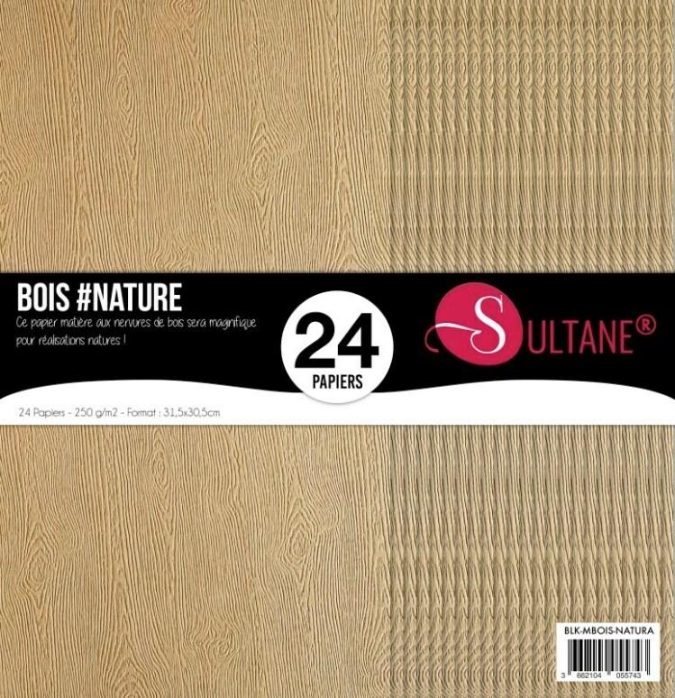 Set 24 papiers scrapbooking - Texture bois Natura - 300g/m2