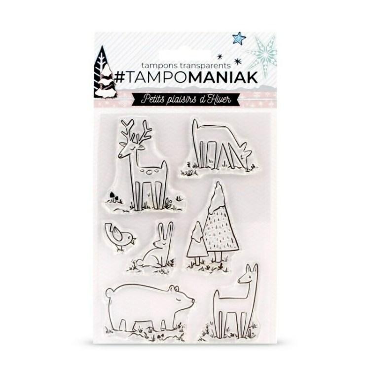 Set de 7 tampons clear Tampomaniak Animaux dans la neige - 10x15cm