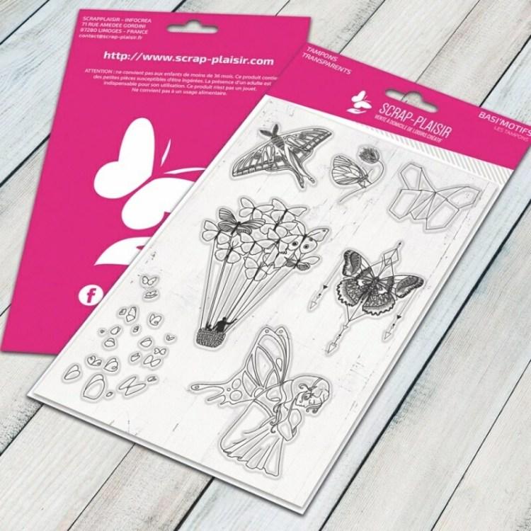 Set de 7 tampons clear envollées de papillons bucoliques et tendances - 10x15cm