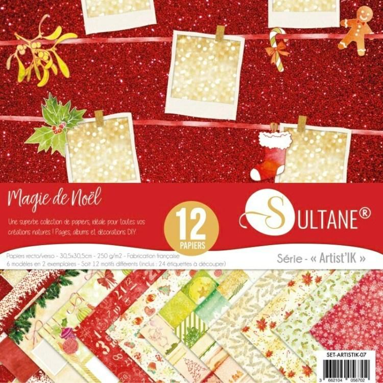 Set de 12 papiers Sultane recto/verso 30,5x30,5 cm - 250 g/m2 - Magie de Noel