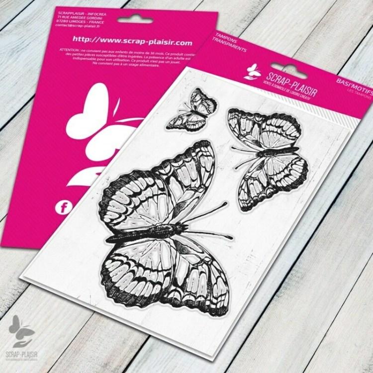 Set de 3 tampons clear papillons - 10x15cm