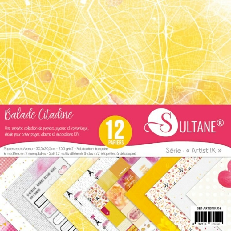 Set de 12 papiers Sultane recto/verso 30,5x30,5 cm - 250 g/m2 - Balade citadine